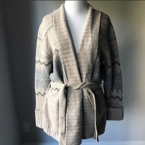 Zara Printed Wool Blend Cardigan with Tie